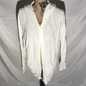 Sparrow Anthropologie White Hooded Open Cardigan